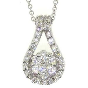 1/2 Carat Diamond 14k White Gold Flower Cluster Pendant w/ Chain: Size: 16""""