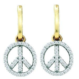 1/4 Carat Diamond Yellow Gold Peace Sign Dangle Earrings: