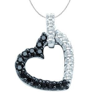 1/3 Carat Black & White Diamond 10k White Gold Heart Pendant w/ Chain: Size: 16""""