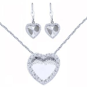 "1/2 Carat Diamond 14k White Gold Heart Earrings Pendant """"""""3 Piece Set"""""""":"