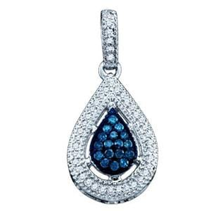 1/4 Carat Blue & White Diamond 10k White Gold Fashion Pendant w/ Chain: Size: 16""""
