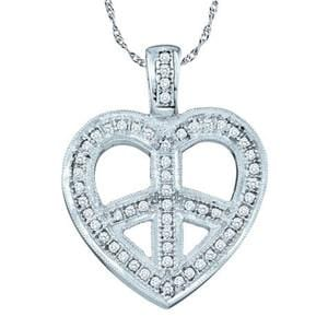 1/5 Carat Diamond 10k White Gold Heart Peace Sign Pendant w/ Chain: Size: 16""""