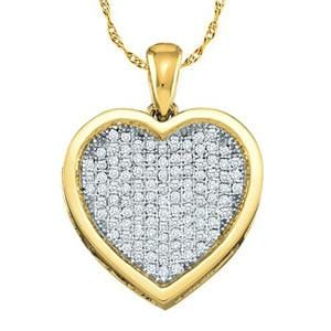 1/3 Carat Micro Pave Diamond 10k Yellow Gold Heart Pendant w/ Chain: Size: 16""""