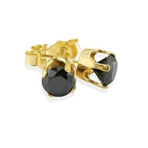 1 1/2 Carat Black Diamond 10k Yellow Gold Stud Screw Back Earrings: