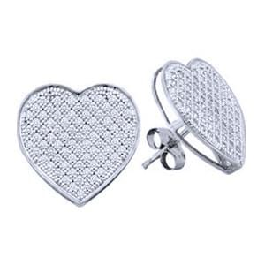 1/5 Carat Diamond Sterling Silver Heart Stud Micro pave Earrings: