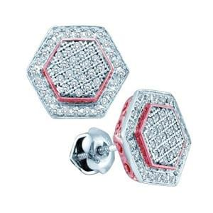 1/3 Carat Pave Diamond 10k Pink/Rose White Two Tone Gold Stud Earrings: