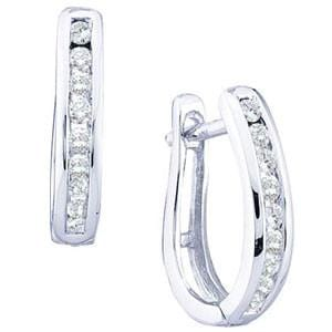 1/4 Carat Diamond 10k White Gold Hoop Earrings: