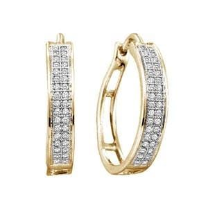 1/5 Carat Diamond 10k Yellow Gold Hoop Earrings: