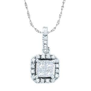 1/4 Carat Round Princess Invisible Diamond 14k White Gold Pendant w/ Chain: Size: 16""""