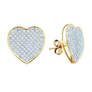 1/2 Carat Pave Diamond 10k Yellow Gold Heart Stud Earrings: