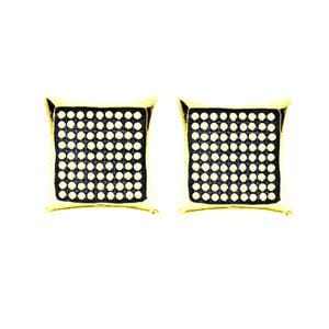 1/2 Carat Pave Diamond 10k Yellow Gold Micropave Kite Stud Earrings: