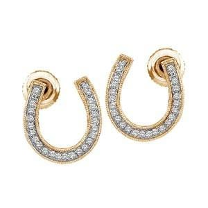 "1/7 Carat Diamond 10k Yellow Gold """"""""HORSE SHOE"""""""" Stud Earrings:"