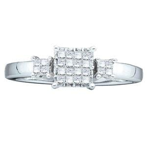 1/4 Carat Princess Diamond 14K White Gold Engagement Ring