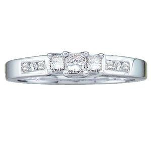 1/4 Carat Princess & Round Diamond 14K White Gold 3 Stone Engagement Ring