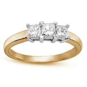 1/4 Carat Three-Stone Princess-Cut Diamond 14k Yellow Gold Engagement Ring