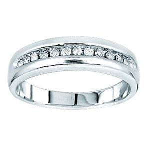 1/4 Carat Diamond 14k White Gold Men's Anniversary / Wedding Ring