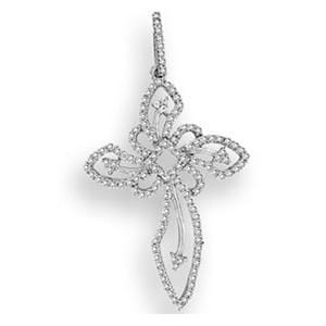 1/2 Carat Diamond 14k White Gold Antique Design Cross Pendant w/ Chain: