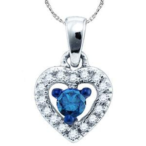 1/5 Carat Blue & White Diamond 10k White Gold Heart Pendant w/ Chain: Size: 18""""