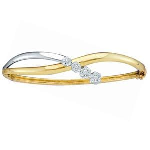 1/2 Carat Diamond 14k Two Tone Gold Flower Cluster Bangle Bracelet:
