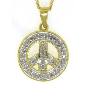 "1/8 Carat Diamond 10k Yellow Gold """"""""Peace Sign"""""""" Pendant w/ Chain:"
