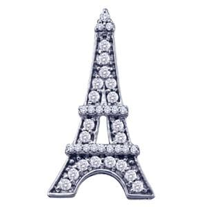 "1/3 Carat Diamond 10k Yellow Gold """"Eiffel Tower"""" Pendant: Size: 16"""""