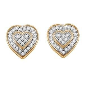 1/7 Carat Diamond 10k Yellow Gold Heart Stud Earrings: