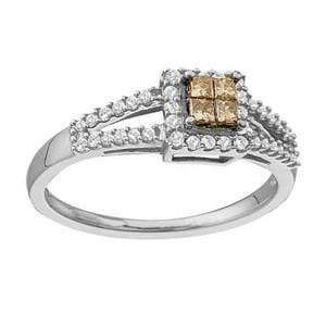 1/3 Carat Chocolate & White Diamond 14K White Gold Engagement Promise Ring
