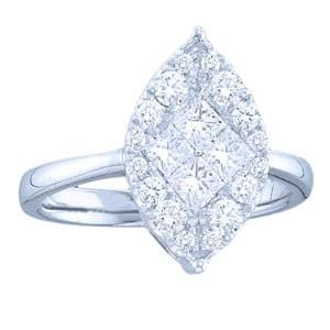 1/4 Carat Marquise Shaped Princess Round Diamond 14K White Gold Engagement Ring
