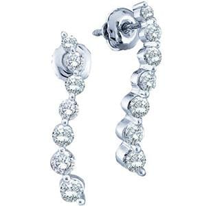 1/2 Carat Journey Diamond 14k White Gold Dangle Screw Back Earrings: