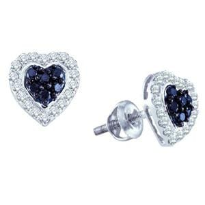 1/3 Carat Black White Diamond 10k White Gold Heart Stud Earrings: