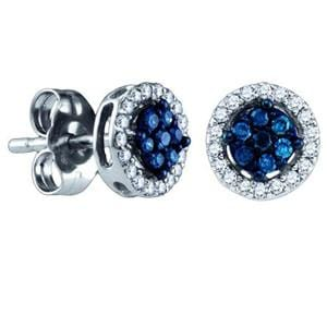 1/4 Carat Blue White Diamond 10k White Gold Flower Stud Earrings: