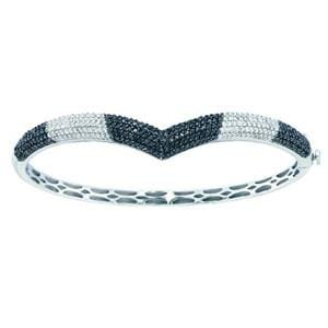 1 3/4 Carat Black White Diamond Pave 14k White Gold Bangle Bracelet: