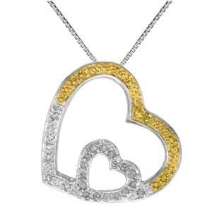 1/2 Carat White & Yellow Diamond 10k White Gold Double Heart Pendant with Chain: