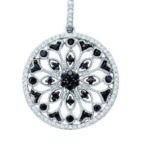 1/2 Carat Black White Diamond 10k White Gold Antique Style Pendant: