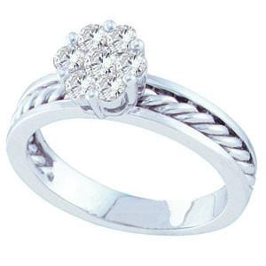 1/2 Carat Diamond 14K White Gold Braided Flower Cluster Engagement Ring