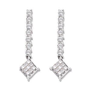 1/2 Carat Round Princess Diamond 14k White Gold Dangle Earrings: