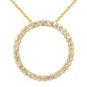 1.00 Carat Diamond 10k Yellow Gold Circle of Life Necklace Pendant W/Chain: 16""""