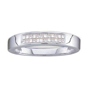 Men'S 1/4 Carat Princess Invisibly-Set Diamond 14K White Gold Wedding Ring