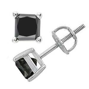 1/2 Carat Princess Black Diamond 14k White Gold Stud Screw Back Earrings: