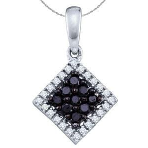 1/3 Carat Black & White Diamond 10k White Gold Pendant w/ Chain: Size: 16""""