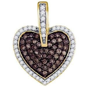 1/2 Carat Chocolate White Diamond 10k Yellow Gold Heart Pendant:
