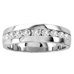 1/4 Carat Diamond 10k White Gold Men's Wedding Anniversary Ring Band