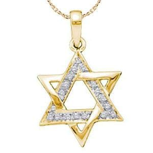 "1/10 Carat Diamond 14k Yellow Gold """"""""Star of David"""""""" Pendant w/ Chain:"