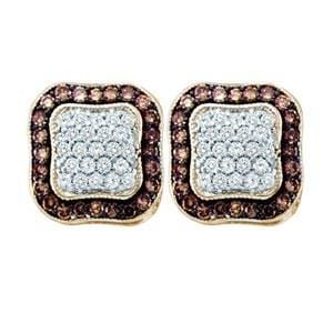 1 Carat Chocolate White Diamond 10k Yellow Gold Fashion Earrings: