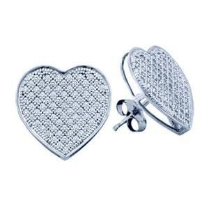 1/3 Carat Micro Pave Diamond 10k White Gold Fashion Heart Earrings: