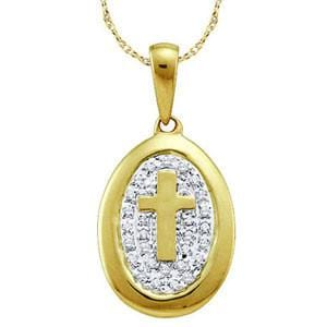 "1/10 Carat Diamond 10k Yellow Gold """"""""Cross"""""""" Pendant w/ Chain:"