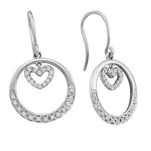 1/4 Carat Diamond 14k White Gold Heart Circle Dangle Earrings: