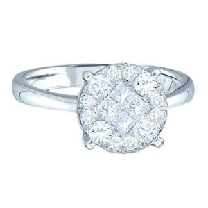1/4 Carat Princess Round Diamond 14K White Gold Engagement Ring