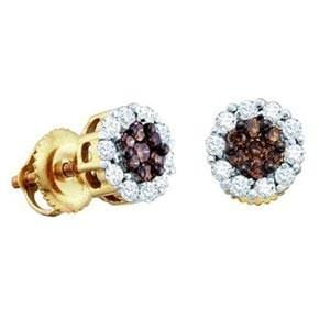 1/2 Carat Chocolate White Diamond 14k Yellow Gold Flower Cluster Stud Earrings: