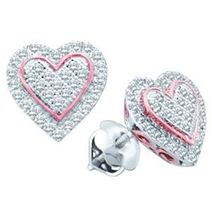 1/4 Carat Diamond 10k White and Rose / Pink Gold Heart Earrings: